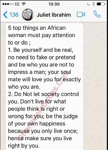 Actress Juliet Ibrahim Advice African Women