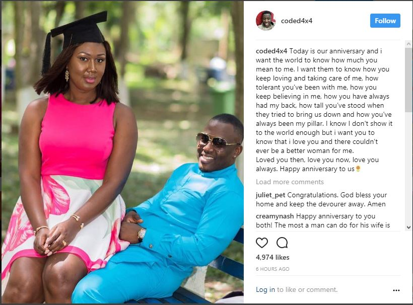 4X4Coded Adores His Wife As They Celebrate Their Fifth Wedding Anniversary