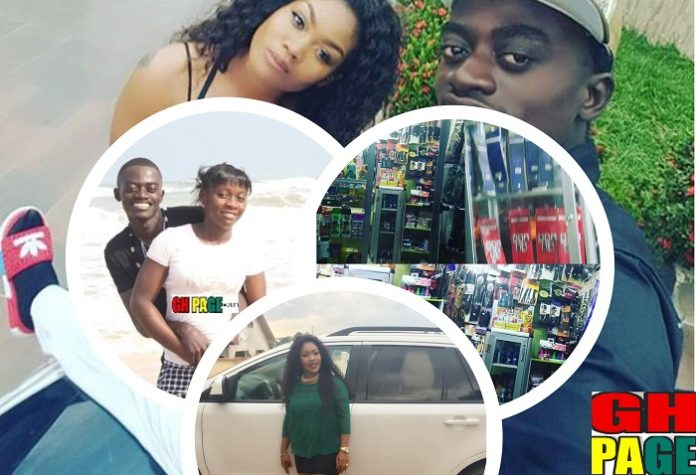 Kwadwo Nkansah Lil Win Allegedly opened a cosmetic Shop, bought a white Honda Civic for his girlfriend while his wife sleeps in a single room after packing her out(Photos)