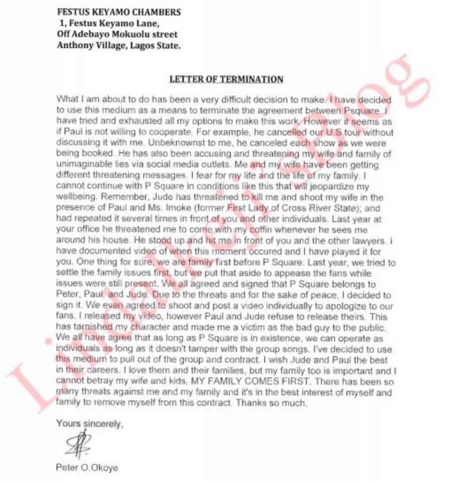 P Square Finally Split Read Copy Of The Letter Peter Okoye Sent