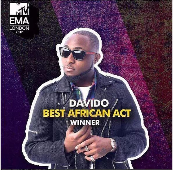 Davido dip in tears after winning MTV Best African Act