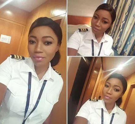 A Young Nigerian Female Pilot, Janet Bunor puts social media on a buzz with her cute photos