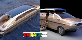 Luxurious limousine that walks on land and sea