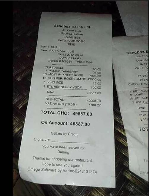 Someone Spent Amount Of Gh¢49,887 At A Restaurant In Accra On Christmas Eve