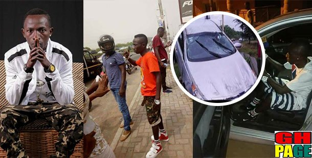 Photo: 'One Corner' hitmaker Patapaa just knocked down 2 people with his brand new Corolla