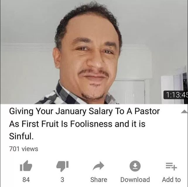 "Giving All Your January Salary To Pastor As First Fruit Is Sinful"" — Daddy Freeze And Omotola"