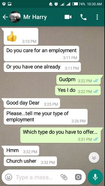 """Lady Shares Chat With A Guy Who Asked For """"$3x"""" In Exchange For A Job"""