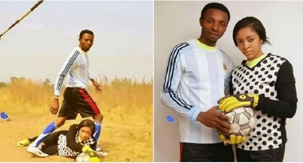 Couple In Football Uniforms As They Shoot Their Pre-Wedding Photos Went Viral