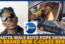 Shatta Wale dashes brand new Benz to Pope Skinny[Photos+Video]