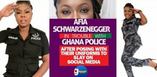 Afia Schwarzenegger In Trouble With Ghana Police After Posing With Their Uniforms To Slay On Social Media