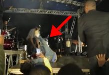 Video: Davido reacts after falling on stage in Rwanda