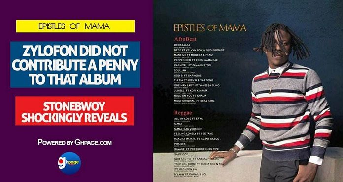 Epistles Of Mama: Zylofon did not contribute a penny to that album -Stonebwoy Shockingly Reveals