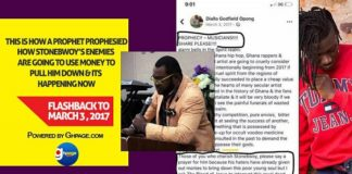 Flashback To March 3, 2017: This Is How A Prophet Prophesied How Stonebwoy's Enemies Are Going To Use Money To Pull Him Down And It's Happening Now