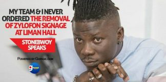 Video: My team and I never ordered the removal of Zylofon Signage at Liman Hall - Stonebwoy speaks