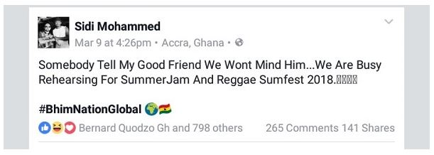 The manager of Stonebwoy, Sidi Mohammed has responded to the warning from Shatta Wale. This came after Shatta Wale ranted on his Facebook page asking the Bhim Nation Boss Stonebwoy not to try and throw punches at him because he might regret.
