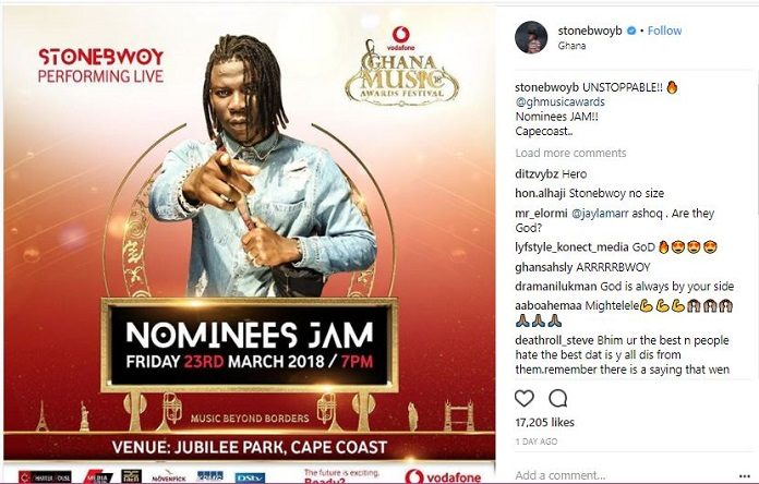 Nothing can stop me from performing at VGMA jam - Stonebwoy fires