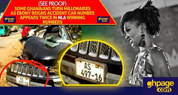 [Proof] Ghanaians turn millionaires as Ebony's accident car number appears twice in NLA winning numbers