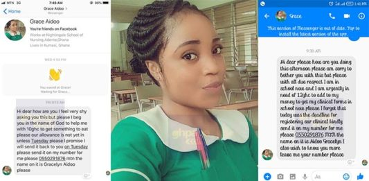 BUSTED! Social Media Users Shares Screenshots Of Chats They Had With A Facebook Nurse Disturbing Them For Just GHC 10