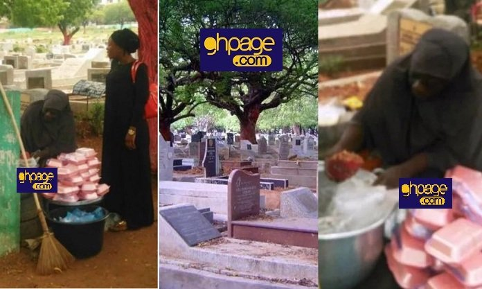 Strange: Photos Of A Woman Packaging Food For Sale At The Awudome Cemetery Trends On Social Media