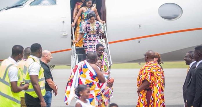 Photos: Nana Appiah Mensah arrives for Akwesidae in his Private Jet