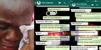 Nigerian Lady Shares Chat She had With A Man Who Requested For S*x Before Giving Her A Job