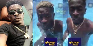 Shatta Wale's Manhood Exposes As His Swims In A Pool