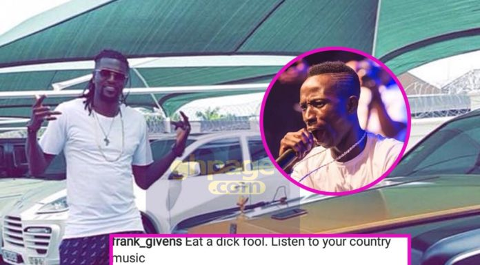 Adebayor claps back at a Kuami Eugene fan who insulted him