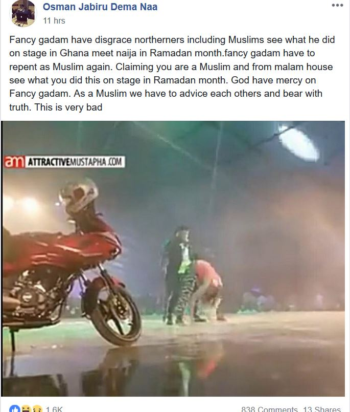 Ghana meets Naija 2018: A Muslim slams Fancy Gadam for holding female dancer's butt