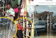 New photos of Fella Makafui's wine shop under lock and chain trends online