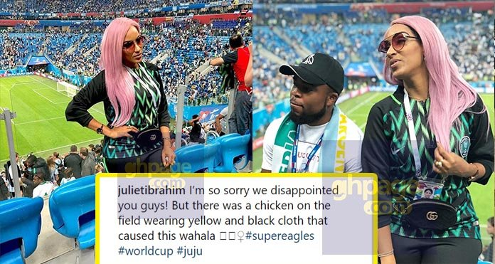Juliet Ibrahim reacts after travelling to Russia to watch Nigeria lose against Argentina