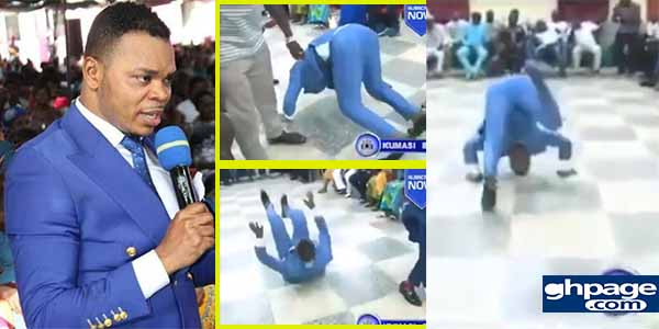 Obinim rolls on the floor after church member won 300k cedis lottery cash