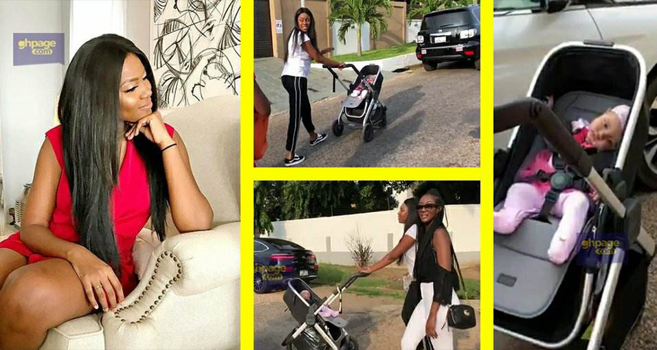 Actress Yvonne Nelson takes Baby Ryn for a stroll