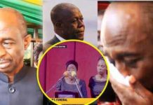 Video: Late Amissah Arthur's wife boldly blasts NDC members in their faces at Funeral service