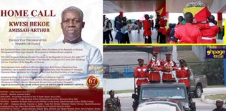 The final burial and funeral rites for Ghana's former Vice President, Paa Kwesi Bekoe Amissah Arthur started today Thursday, July 26, 2018.