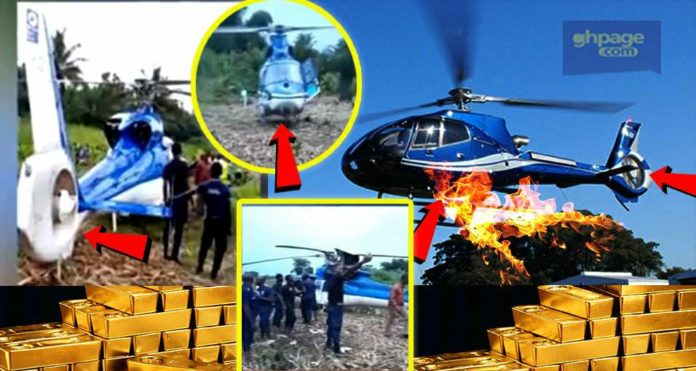 Helicopter carrying GOLD nearly crashed and was forced to land on maize farm