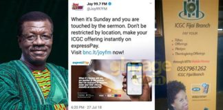 Pay your tithes and offerings through Mobile Money - ICGC to members who fail to attend Sunday service[Screenshot]
