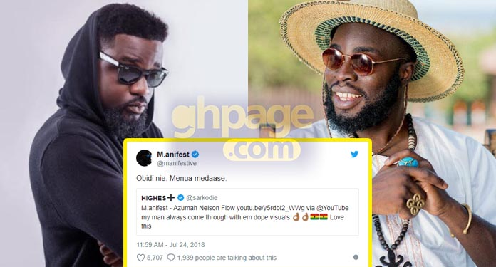 M.anifest thanks Sarkodie for acknowldging his 'Azumah Nelson Flow' video