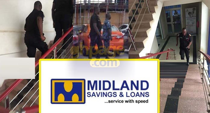 Photos: A team of Police officers storm Midland Savings and Loans over assault of nursing mother