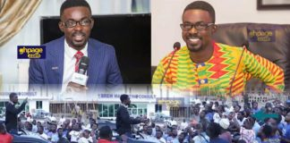 Nana Appiah Mensah addressing his workers at Kasoa