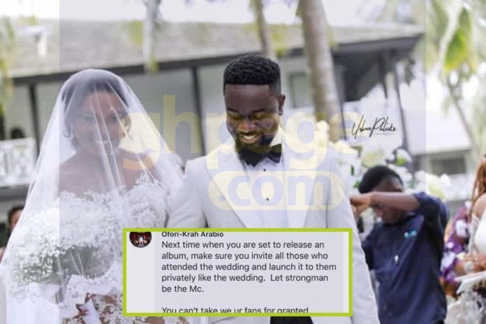 Sarkodie fans angry with him asks him to also launch his album privately