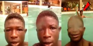 Abraham Attah and Strika chill out in a swimming pool