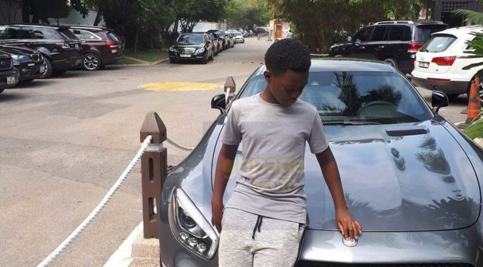 Jackie Appiah's son Damien flaunts his new car on social media