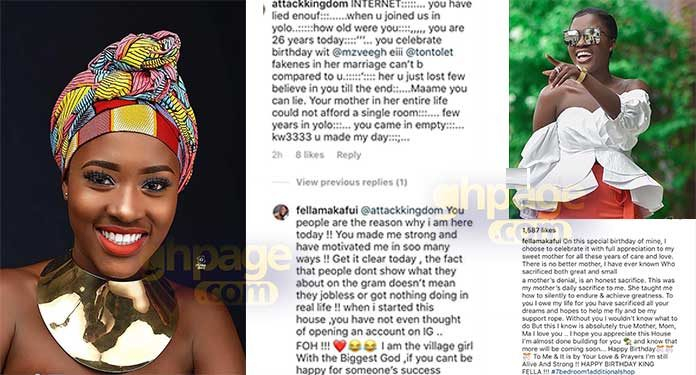 You're not 23 but 26- Fan 'exposes' Fella Makafui's real age