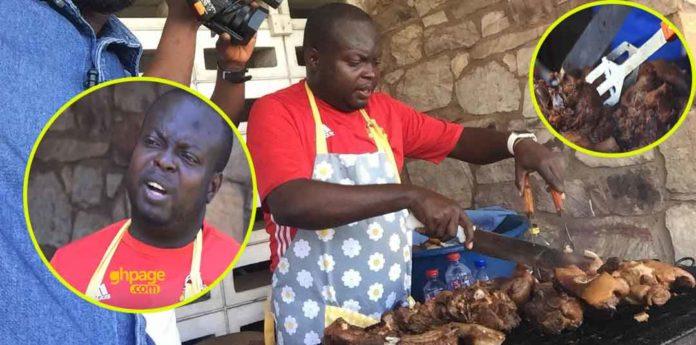 Raymond Dankwa, former capital bank manager grilling pork for survival