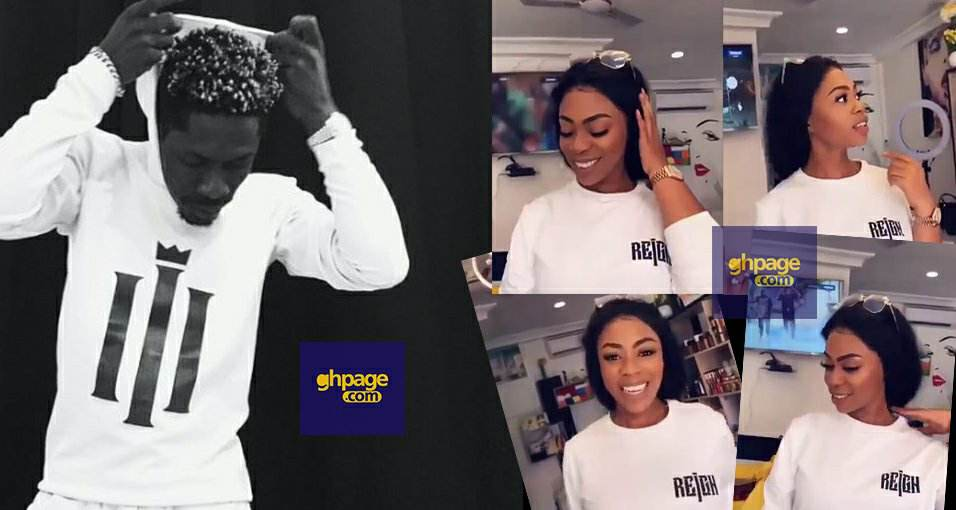 Michy is now the ambassador for Shatta Wale's upcoming album as she is spotted in the customised 'The Reign Album' T-shirt