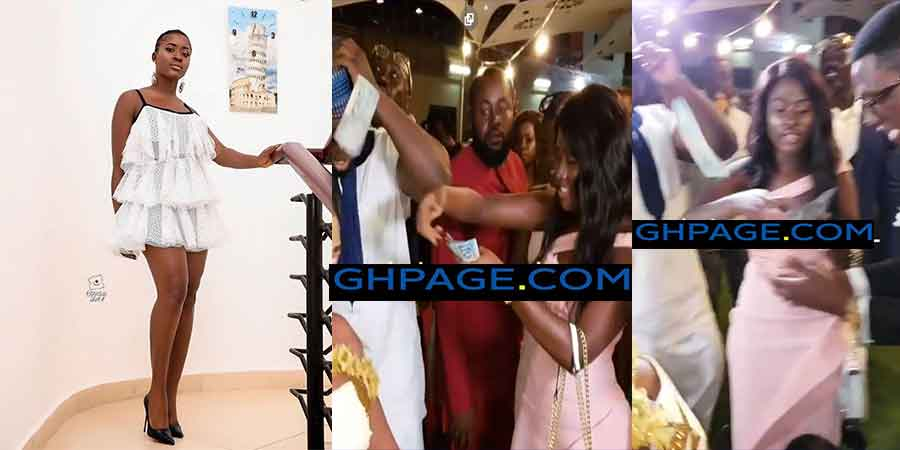 Fella Makafui sprays money on DBlack's boy Fadi Charles' wedding reception
