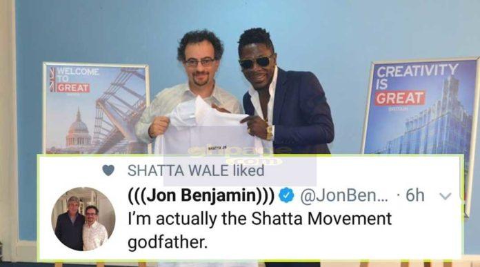 Jon Benjamin reveals he is the God Father of Shatta Movement