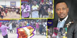 Prophet Nigel Gaisie shares money at Mallam Attah Market