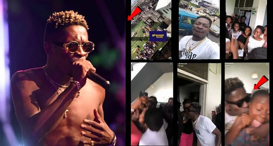 Shatta Wale visits girls dorms in KNUST