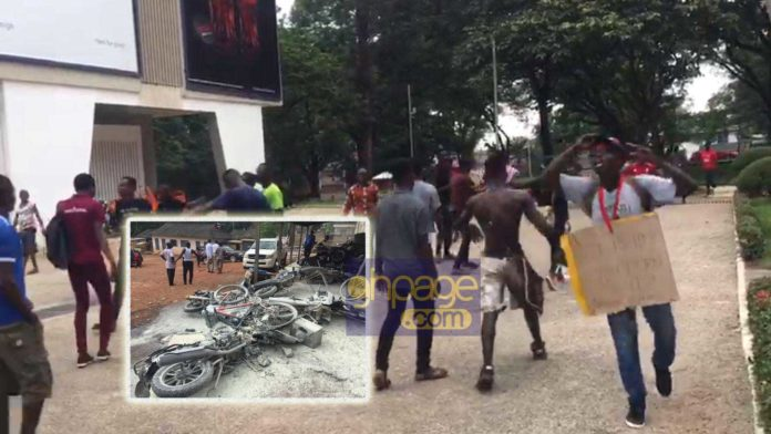 KNUST Demo turns bloody: Cars and motors burnt to ashes